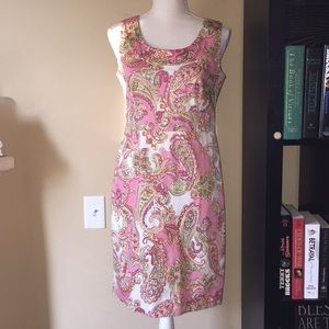 Jones New York Signature Pink Paisley Print Dress